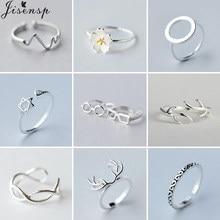 2021 neue Trendy Silber Farbe Ring Schmuck Einfache Geometrische Runde Herzschlag Deer Antlers Offene Ringe für Frauen Mädchen Bithday Geschenk