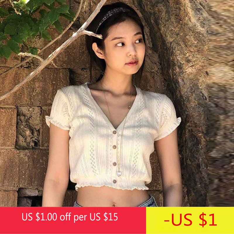 Summer Korean Womens Short Sleeve Tops Sexy V Neck Buttons Mini T-Shirt Knitted Shirts Fashion Hallow Out Ladies Tops White