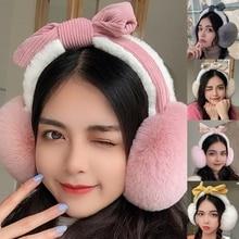 Women Winter Fluffy Plush Earmuffs Sweet Bowknot Headband Foldable Ear Warmers 6XDA