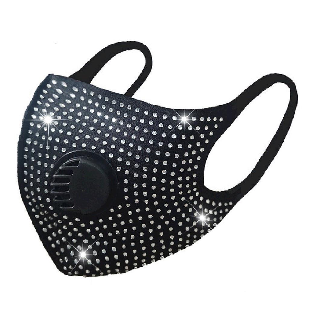 Алмазная дышащая маска для рта унисекс маска для защиты лица многоразовая моющаяся модная маска против загрязнения маска #2
