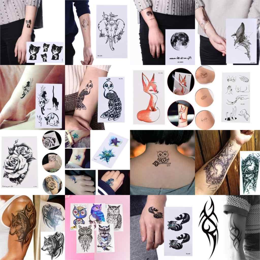 24 estilo Alce Gato Lobo Tatuagem Temporária Mulheres Homens Maquiagem Tatto Etiqueta do Tatuagem de Transferência da Água Do Corpo Do Braço Pulseira Animal Cervos zoológico
