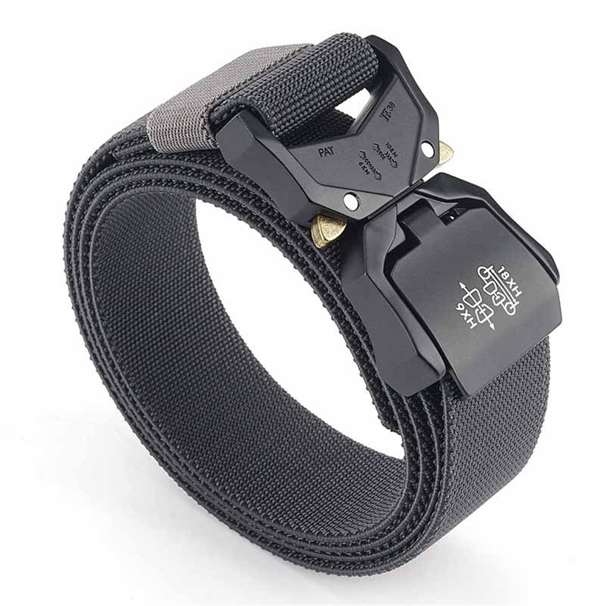 Elastic Jeans Belt For Men Aluminum Alloy Pluggable Buckle Training Tactical Belts Comfortable High Quality Male Belt Hunting