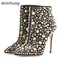 Sexy dedo do pé apontado tornozelo botas de ouro prata rebite decoração pista botas mujer stiletto calcanhar bling strass botas curtas