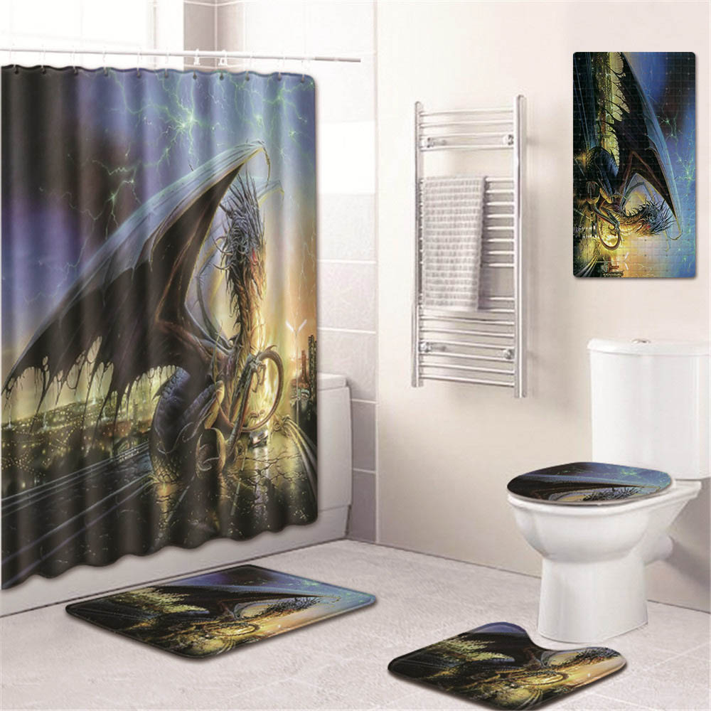 5 шт./компл. 3D Шторки для душа с принтом для ванны водонепроницаемый из полиэстера Современный ПВХ на нескользящей подошве для ванной коврик ... - 4