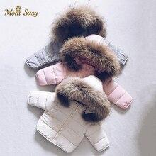 Зимняя куртка-пуховик для маленьких мальчиков и девочек плотное хлопковое Стеганое пальто с меховым капюшоном для малышей однотонный зимн...