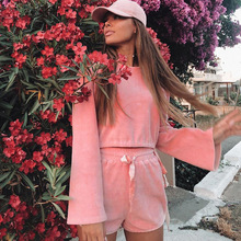 купить Pink Corduroy Two Piece Shorts Set Women Flare Long Sleeve Tops and High Waist Shorts Matching Set Ladies Corduroy Shorts Suit дешево