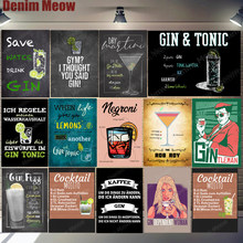 Gin Tonic Rezept Vintage Metall Zinn Zeichen Negroni Martini Cocktail Poster Pub Bar Party Wand Decor Gintleman Lustige Plaque N349(China)