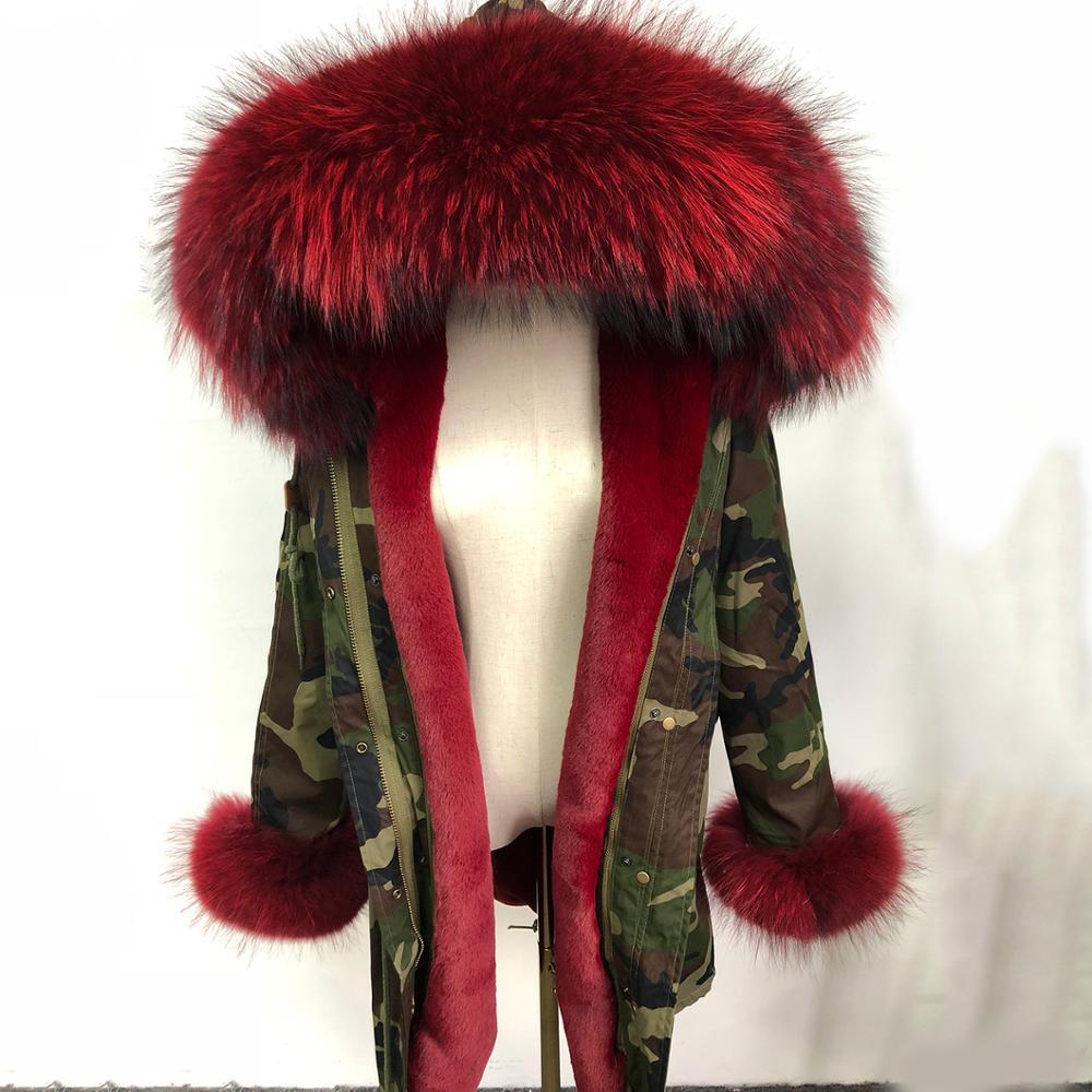 Véritable fourrure de raton laveur col parka hiver veste de fourrure femmes manteau dame Parkas veste de neige