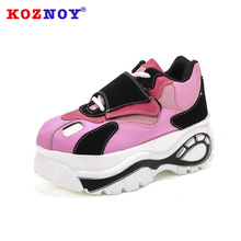 Koznoy Muffin Thick Soled Shoes Dropshipping Single Shoes for Women 2019 New Type Air Permeable Leisure Heightening Women Shoes цены