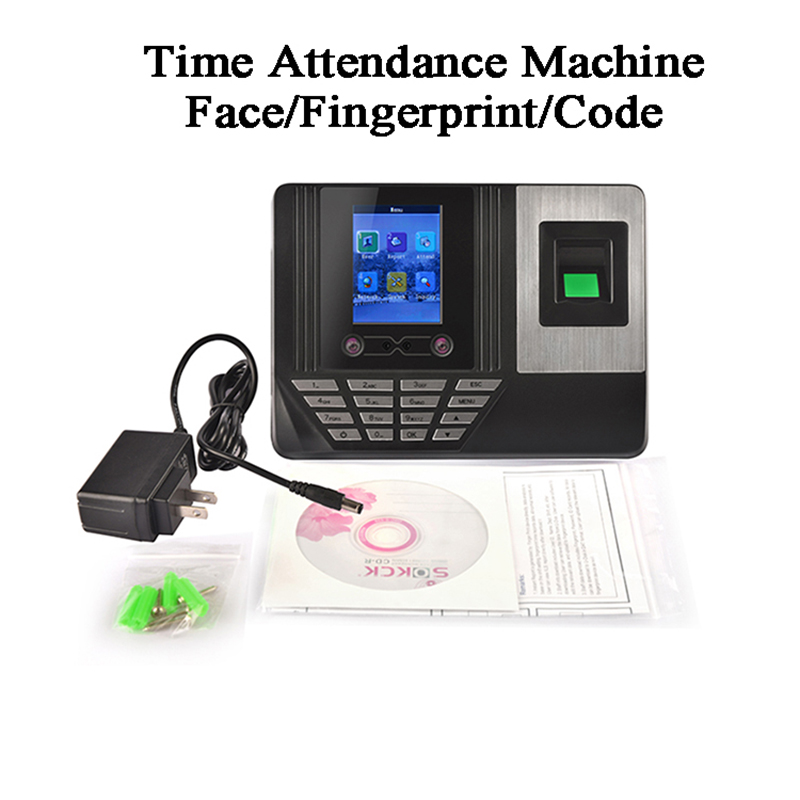 Standalone Office Face Time Attendance Machine DC5V U-disk USB TCP/IP LCD Screen Biometric Fingerprint Code Card