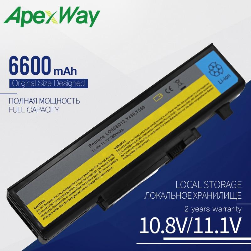Apexway 9 Cells 6600 MAh Laptop Battery For Lenovo IdeaPad Y450 Y450A Y450G Y550 Y550A Y550P 55Y2054 L08L6D13 L08O6D13 L08S6D13