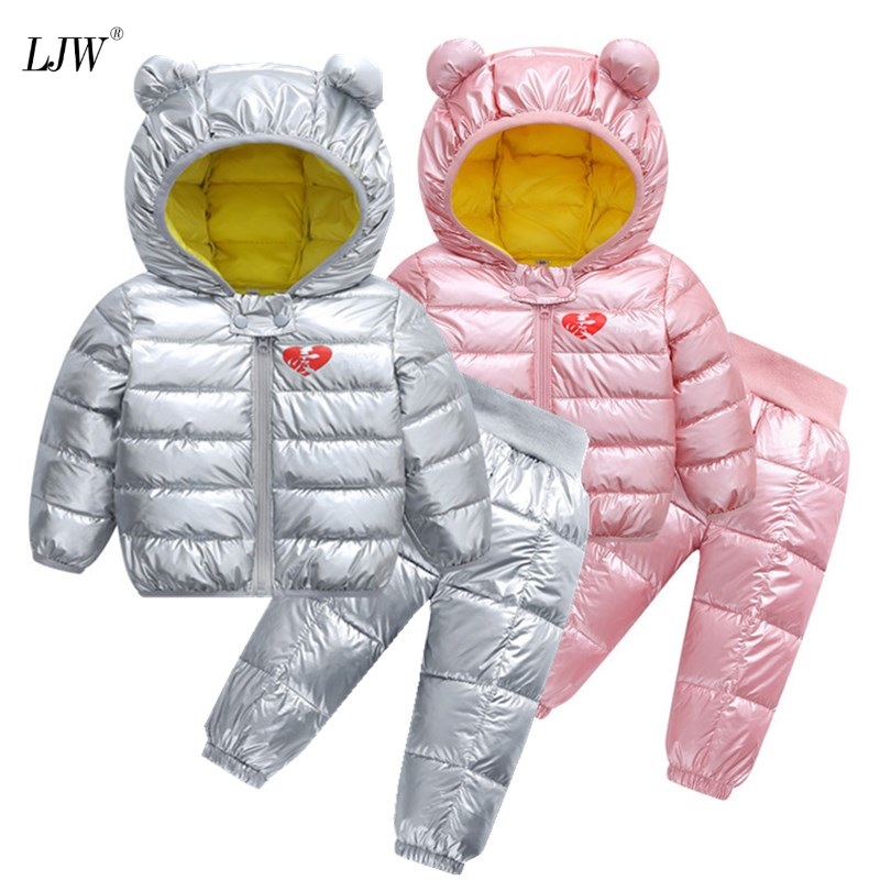 2pcs Kids Set Winter Autumn Boys Hooded Coat+ Warm Pants Toddler Infant Clothes Suits Children Kids Costume Girl Outfit 1-5yrs
