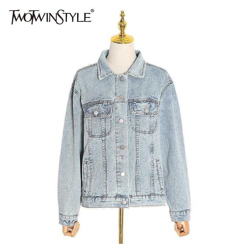 TWOTWINSTYLE Casual Denim Jacket For Women Lapel Collar Pocket Long Sleeve Streetwear Jackets Female Fashion Spring New 2020