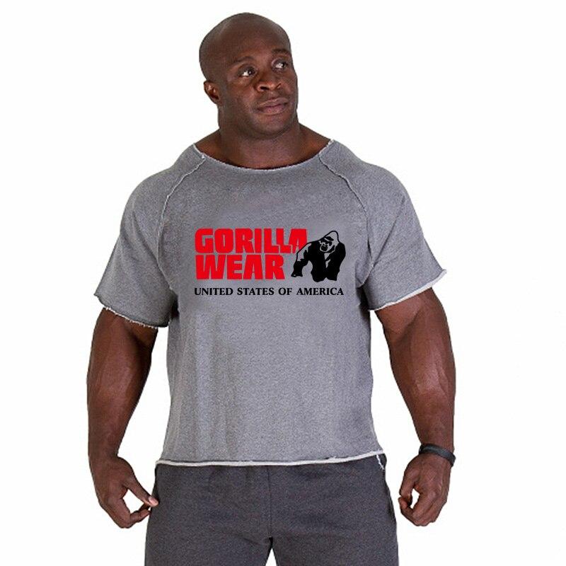 T-shirt running man fitness sports shirt gorilla shirt bat sleeve natural cloth side training muscle t-shirt fabric thick cotton
