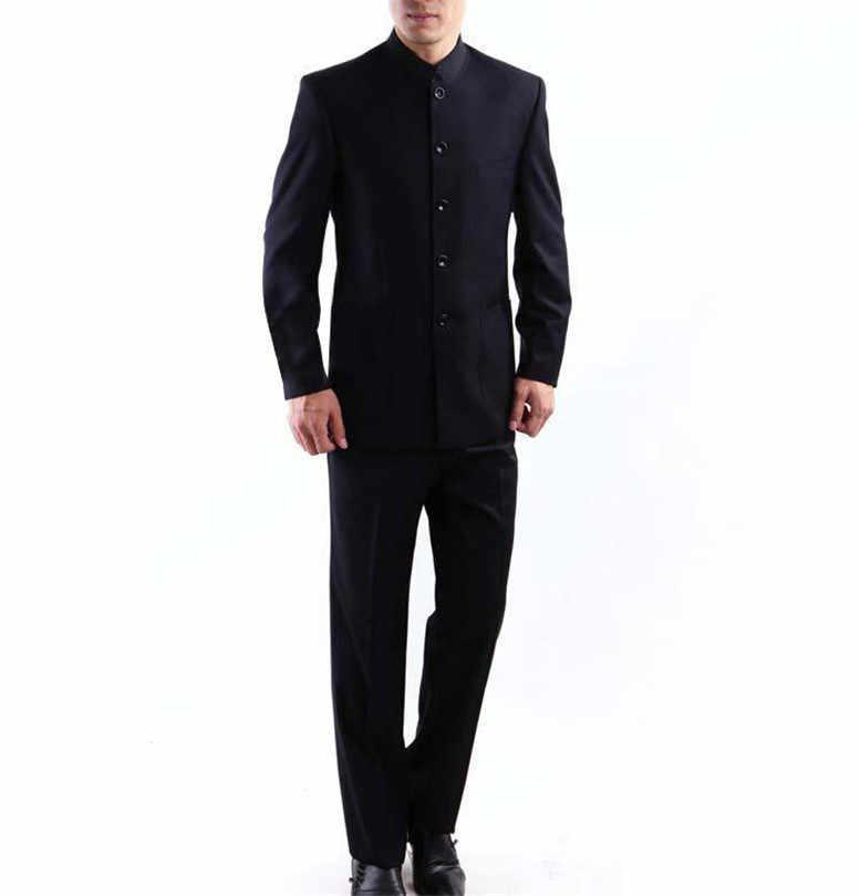 男性スーツビッグサイズ中国のマンダリンカラー男性スーツスリムフィットブレザー結婚式 Terno タキシード 2 枚のジャケット & パンツ