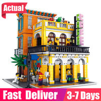 Rael 10002 Creative Classic Commercial Street View Series Coffee House House Model Assembled Building Block Toy Children Gift