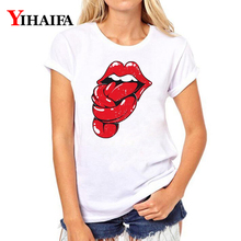 Women T-shirt 3D Print Funny Red Lips Graphic Tee Casual Lady Summer White T Shirts Creative Short Sleeve Tops