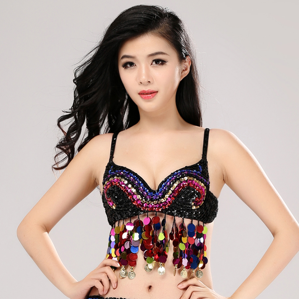 Glitter Tribal Belly Dance Bra Top With Sequins Tassels Dancing Costume
