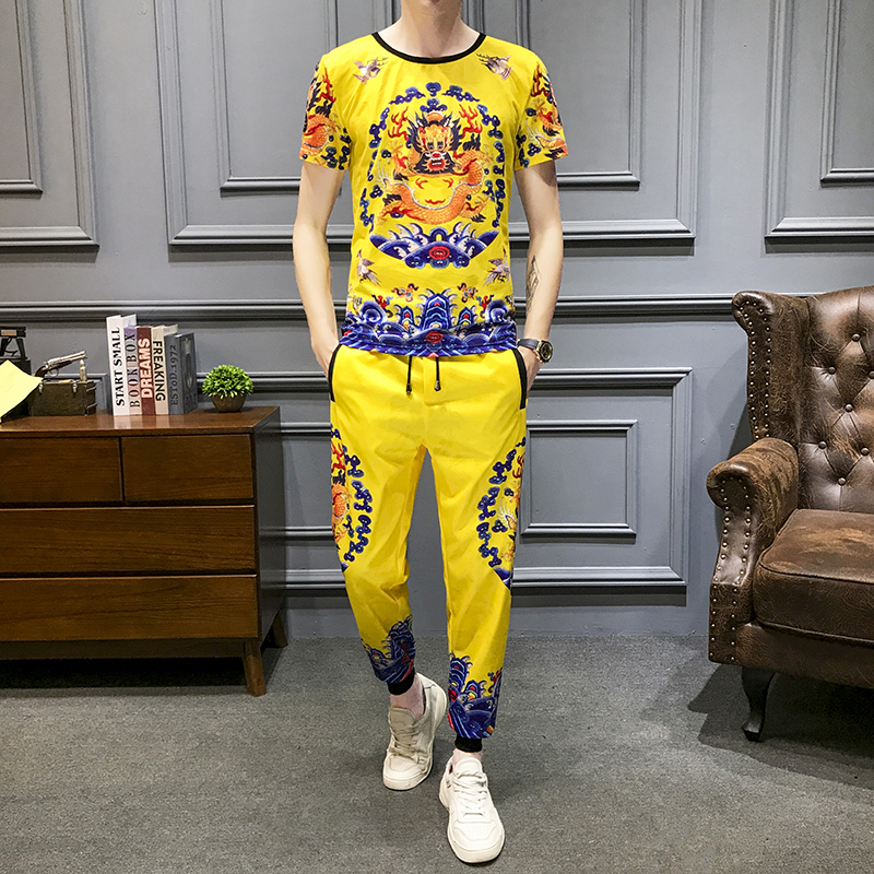 Dragon Print Two Piece Set Men Slim Fit Outfits Men Set Short Sleeve T Shirt High Quality Tracksuit Top And Pants Men Yellow