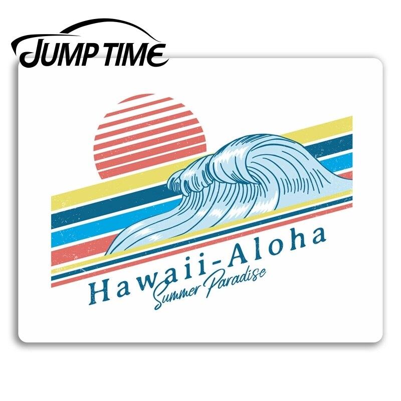 Salto tempo hawaii aloha onda adesivos de vinil surf surfista adesivo portátil à prova dwaterproof água decalque do carro janela pára-choques acessórios automóveis