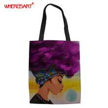 WHEREISART American Art Black African Beauty Girl Women Canvas Tote Ladies Casual Shoulder