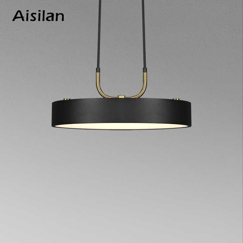 Aisilan minimalist LED kolye işık Nordic tarzı silindirik Modern yemek odası için cafe bar kişilik kolye lamba