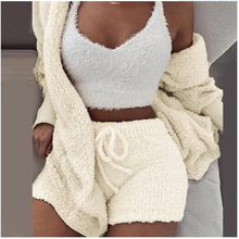 Winter Women Solid Pajama Sets Long Sleeve With Hat Coat Sex