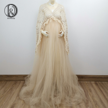 Maternity-Dresses Maxi Tulle Photo-Shoot Bohemia V-Neck Gown Long-Sleeve Boho Sexy Don