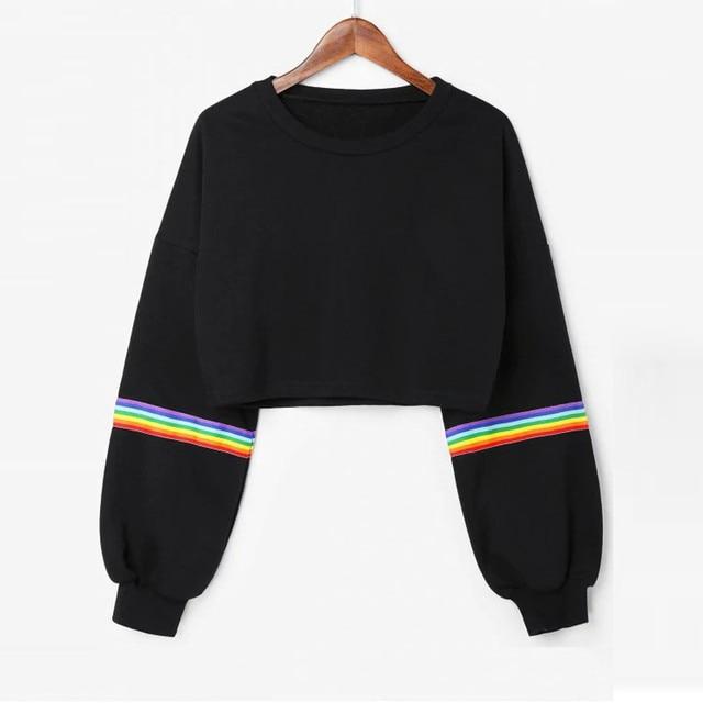Womens Long Sleeve Striped Crop Rainbow Stripes Short Sweatshirt Jumper Black Pullover Top Sudadera Womens Sweatshirts Hoodies