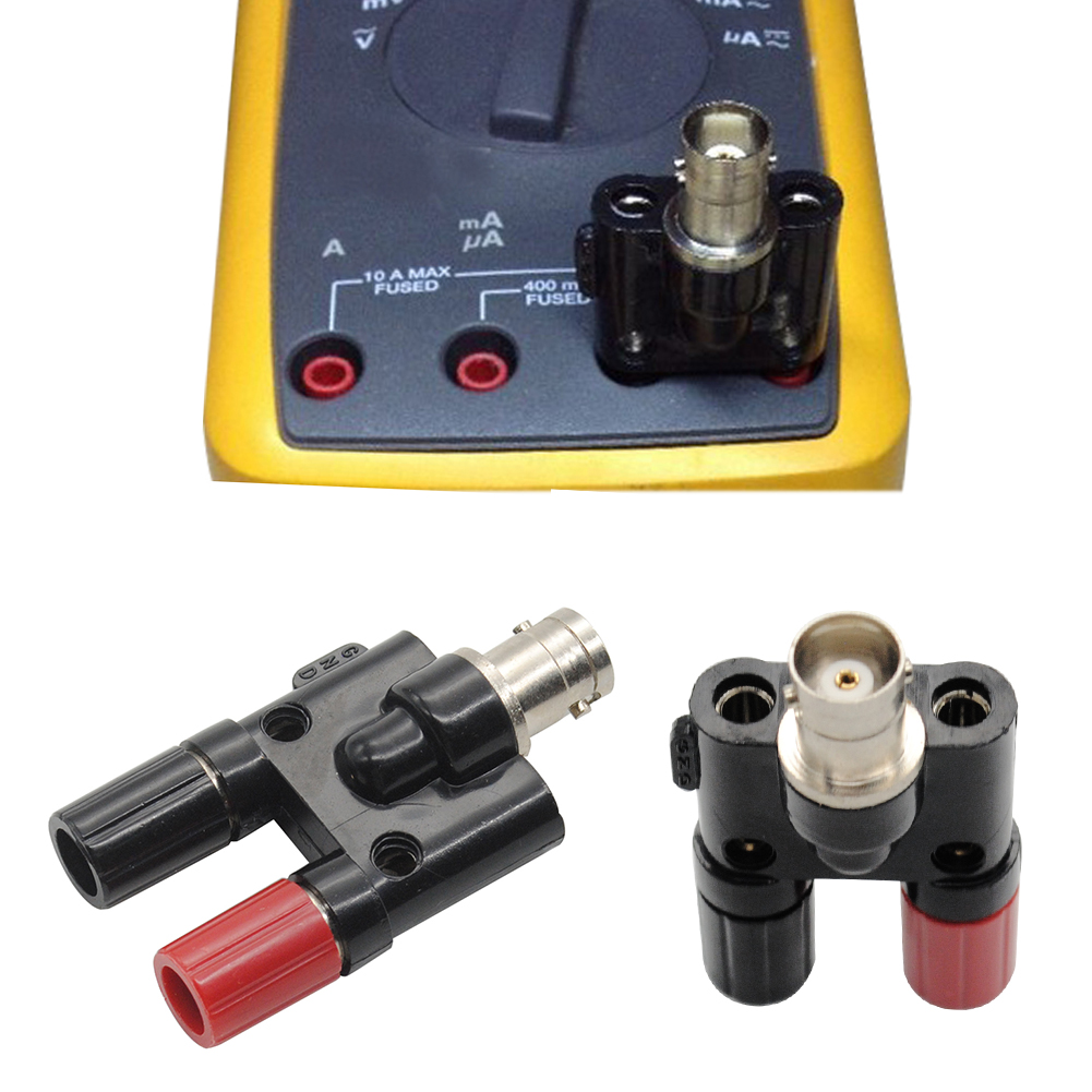 1pc BNC Male Plug Adapter Connector Male Plug To Two Dual Banana Jack Socket Binding Post RF Coax Coaxial Splitter Connector