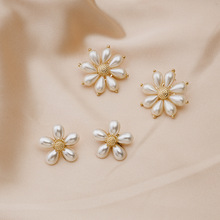 Korean Simulated Pearl Flower Drop Dangle Earrings for Women Simple Gold Silver Color Statement Earrings Party Wedding Jewelry 2019 fashion 925 sterling silver dangle earrings white zircon flower pearl drop earrings for girls women wedding party jewelry