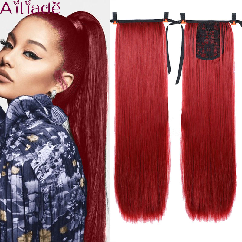 AILIADE Afro Fake Hair Bun Red Straight Drawstring Ponytail Wig False Hairpiece Ponytail Synthetic Clip In Hair Extensions 22""
