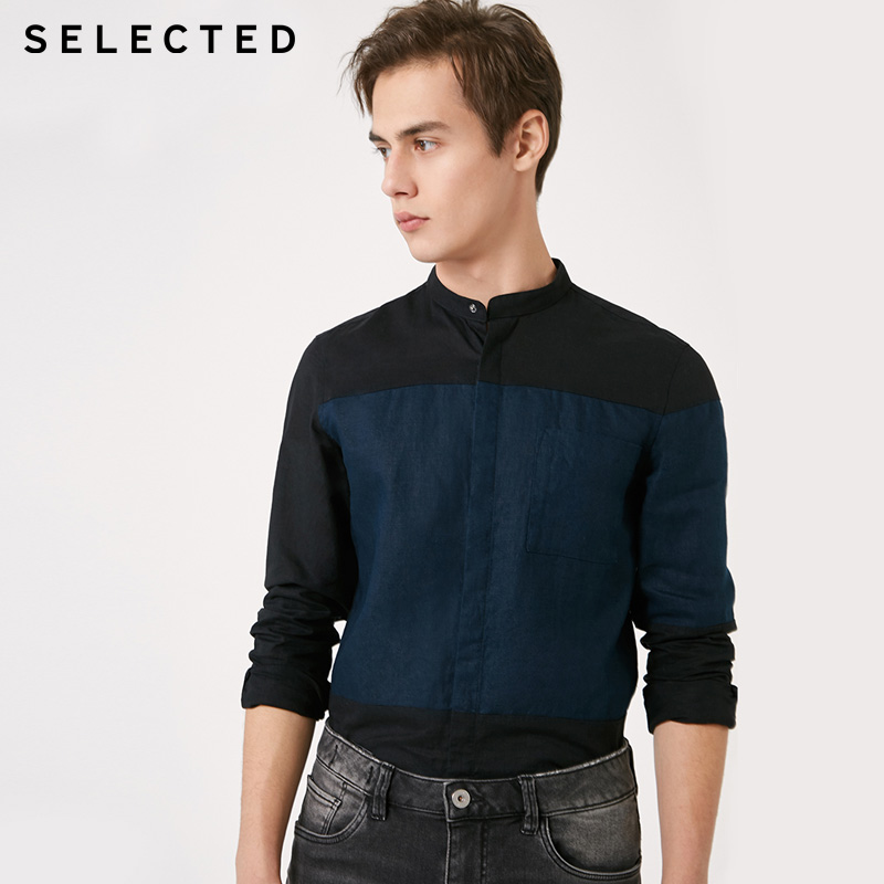 SELECTED Cotton Linen Color Matching Fit Business Casual Shirt |419105580