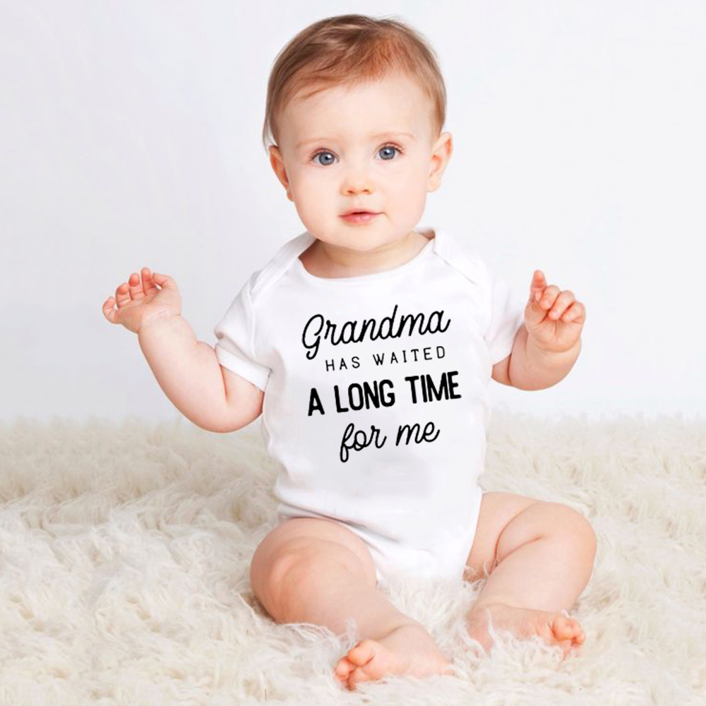 Newborn Funny Bodysuit Grandma Has Waited A Long Time For Me Print Infant Baby Boy Girl Cotton Short Sleeve Jumpsuit Outfit