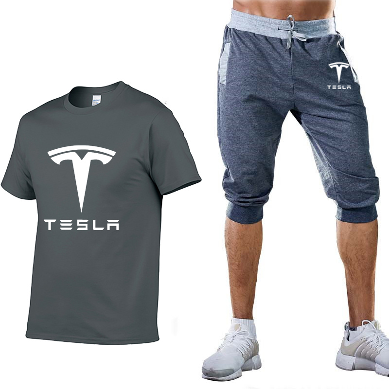 New 2020 Summer Men T Shirts Tesla Car Logo Print Light Casual Cotton Short Sleeve Crew Neck Men T-shirt Pants Suit