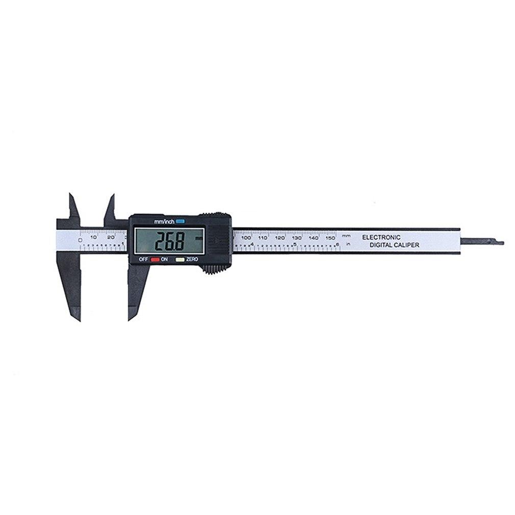 Mímetro de medição do micrômetro do calibre de 0 150mm com conversão de Polegada a mm compósitos da fibra do carbono da régua da pinça lcd digital Pinças    -