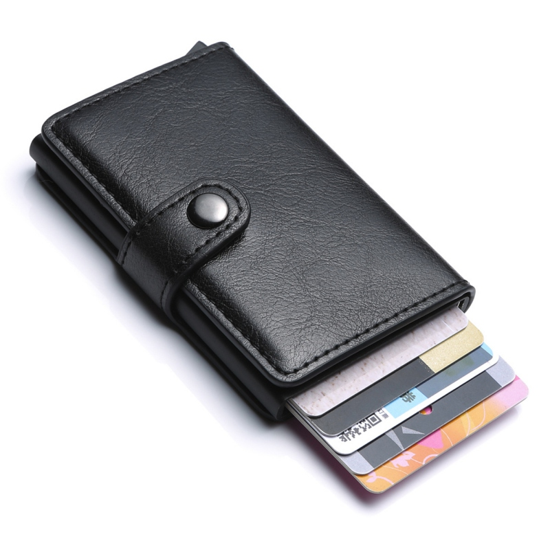 Men Women Automatic Credit Card Purse Wallet Back Pocket ID Cardholder RFID Blocking Wallet Retro Coin Purse Card Pouch