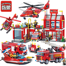 City Police Fire Station Truck Spray Water Gun Firemen Car Building Blocks Sets Bricks Model Kids Toys Boys Compatible Legoes недорого