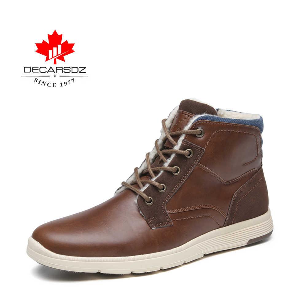 DECARSDZ 2020 Männer Schnee Stiefel Männer Warme Winter Stiefel Männlichen Neue Mode Schuhe Mann Ankle Fur Botas Männlichen Marke Komfort männer Stiefel