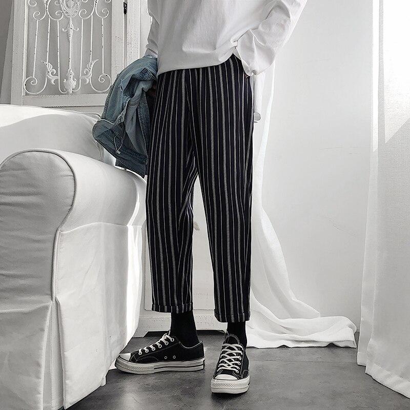 2019 осень и зима новые молодежные Популярные студенческие полосатые брюки модные повседневные свободные прямые брюки черные M 2XL|Повседневные брюки|   | АлиЭкспресс