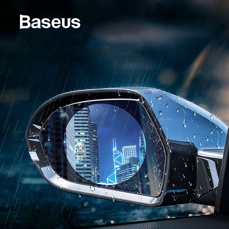 Baseus 2 Pcs 0.15mm Car Rearview Mirror Window Clear Film Anti Fog Window Foils Rainproof Protective Car Sticker