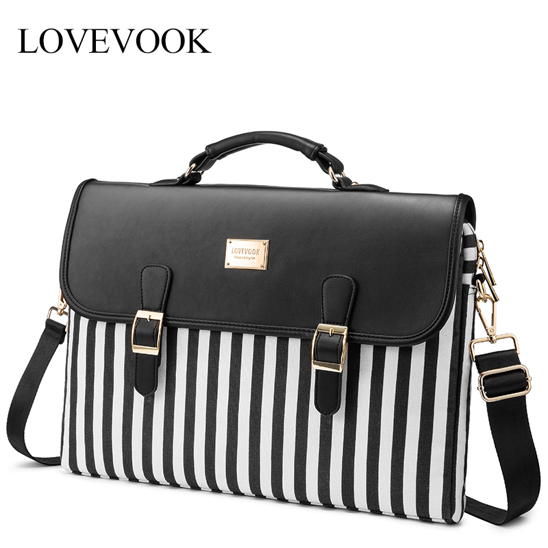 LOVEVOOK Women Handbags Canvas Laptop Bags For 13.3/15.4 Inch Crossbody Bags Female Fashion Striped Office Bags For Work/school