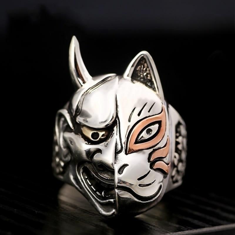 2019 New Fashion Vintage Pop Japanese Prajna Mask Hip Hop Rock Punk Metal Personality Ring For Men Women Asymmetry Rings Jewelry