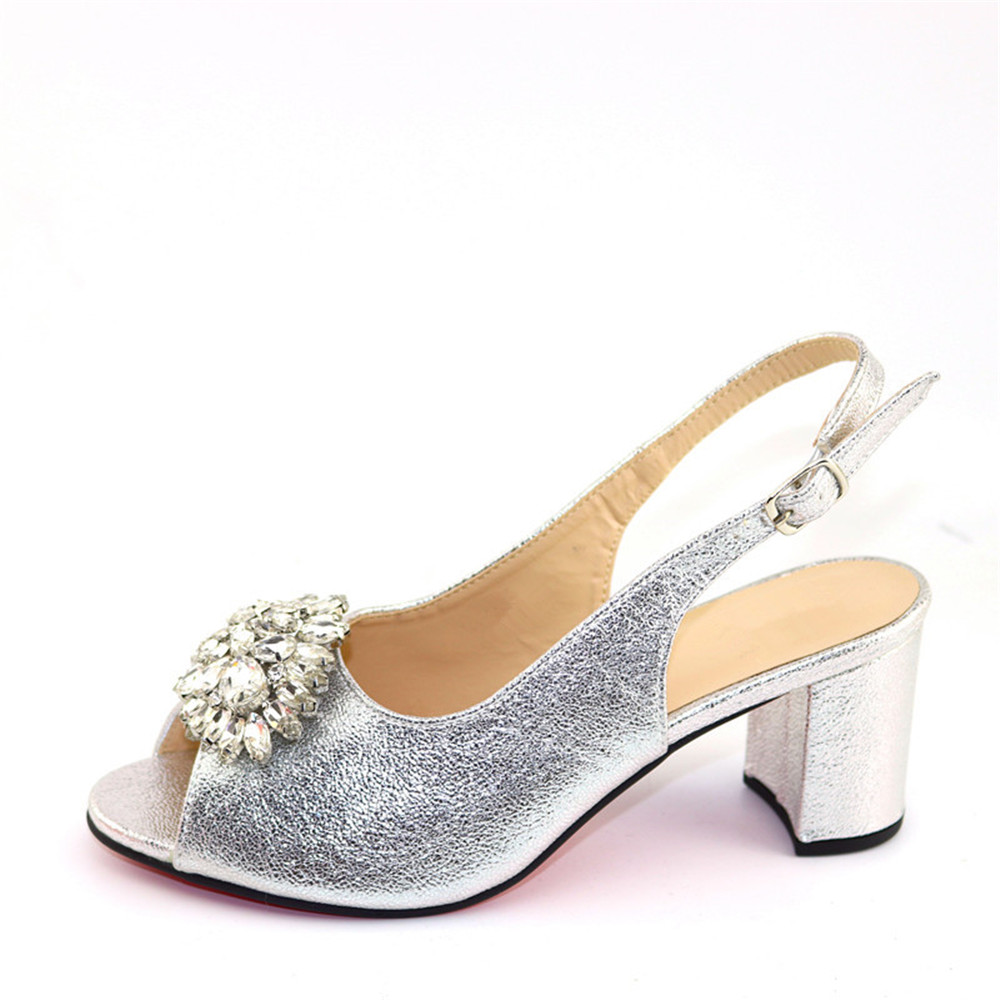 Silver wedding/party high heel sandal shoes with stones for fashion lady CR301 Heel Height 7.5CM
