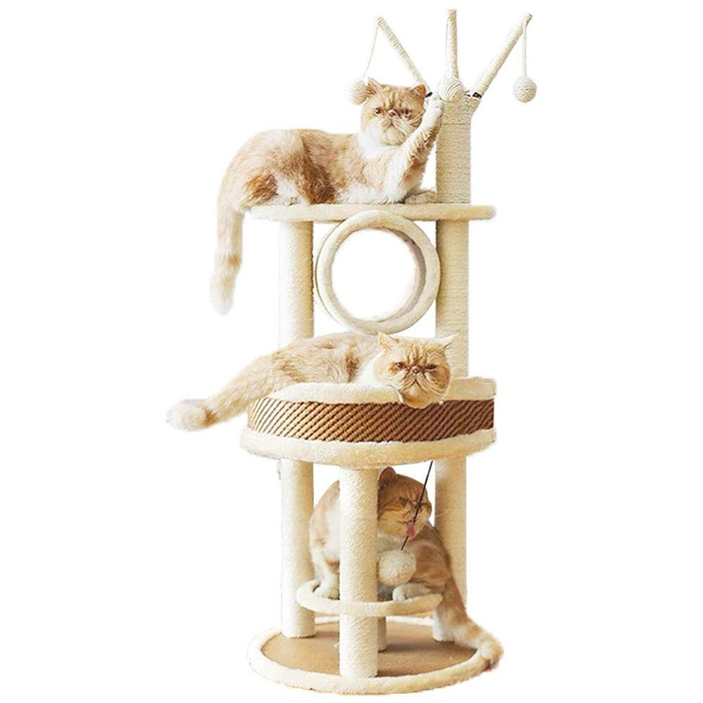 Multi-Level <font><b>Cat</b></font> <font><b>Tree</b></font> Tough Rattan <font><b>Cat</b></font> Tower with Big <font><b>Cat</b></font> Nest <font><b>Cat</b></font> <font><b>Tree</b></font> Branch Tunnel <font><b>Cat</b></font> Scratching Post <font><b>for</b></font> <font><b>Large</b></font> <font><b>Cat</b></font> image