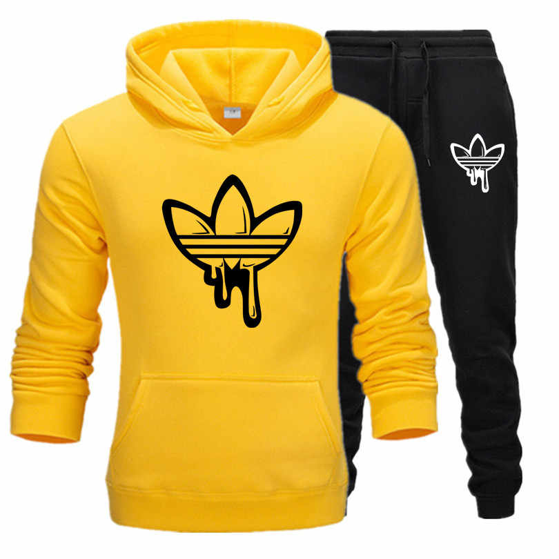 New hot Two Pieces Set Fashion Hooded Sweatshirts Sportswear Men Tracksuit Hoodie Autumn Men Brand Clothes Hoodies+Pants Sets