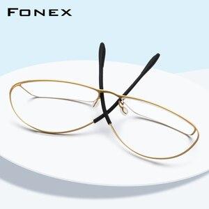 Image 1 - B Titanium Eyeglasses Frame Men Prescription 2019 Ultralight Full Elastic Myopia Optical Glasses Frame Man Screwless Eyewear 874