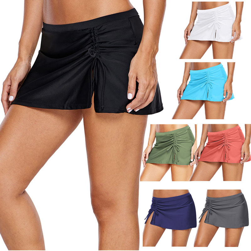 2020 Black Ruched Side Vent Detail Swim Skirt Women Sexy Bikini Bottom Separate Swimsuit Swim Bottoms Female Swimwear Bathing