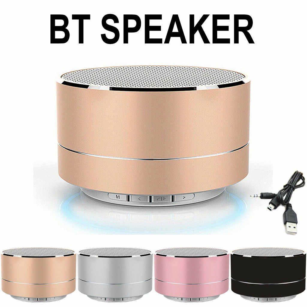 Portable Mini Logam Baja Nirkabel Smart Hands LED Wirelwss Mnin Bass Bt Portable Speaker untuk iPhone untuk Ponsel MP3 Persegi