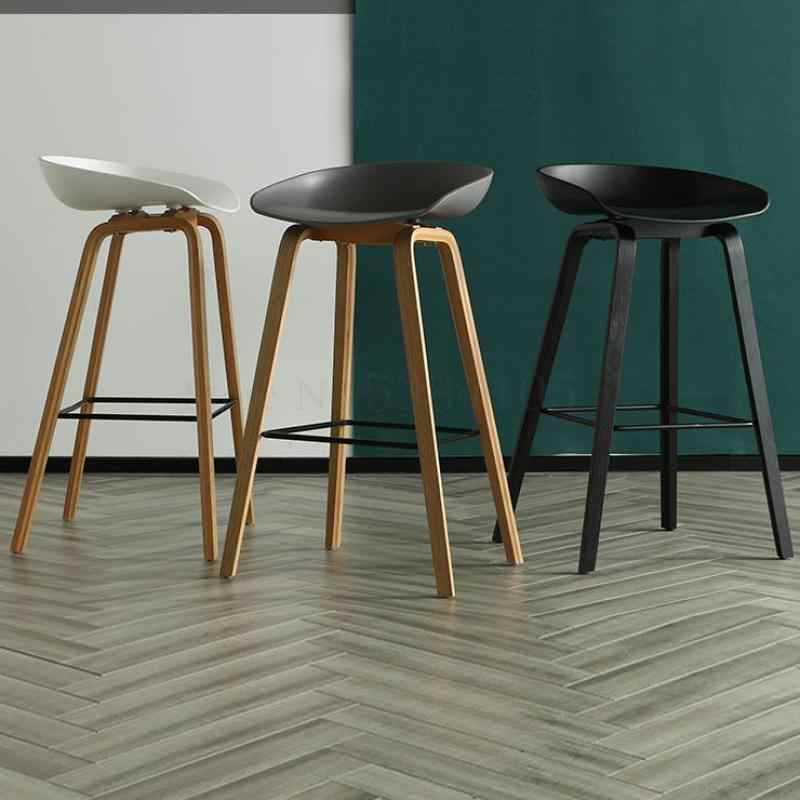 Modern Sederhana Bahasa Swedia Kursi Bar Eropa Utara Fashion Kursi Bar Kreatif Kursi Bar Desainer Kayu Solid High Stool